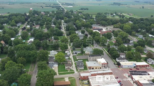Overview of a midwestern small town, Walnut, Iowa, USA