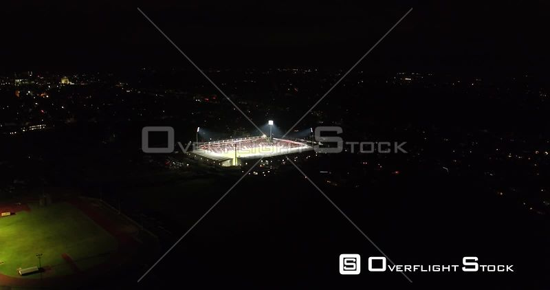 Drone Video Nighttime Football Match in Bournemouth UK