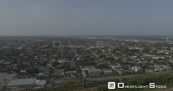 New Orleans Louisiana Aerial Panning view of Bywater neighborhood & neighboring areas