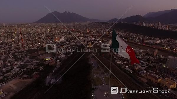 Drone Video Dusk with Flag Monterrey Mexico