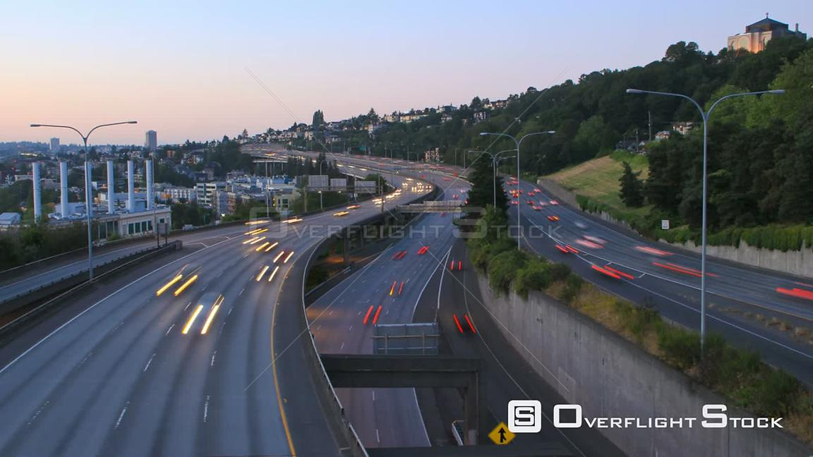 Seattle Washington State USA Seattle I5 traffic time lapse after sunset.