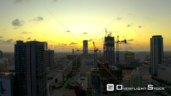 Downtown Miami Sunset Aerial Drone Video 4k