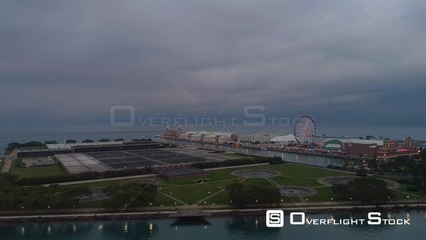 Navy Pier Drone Aerial View Chicago Illinois