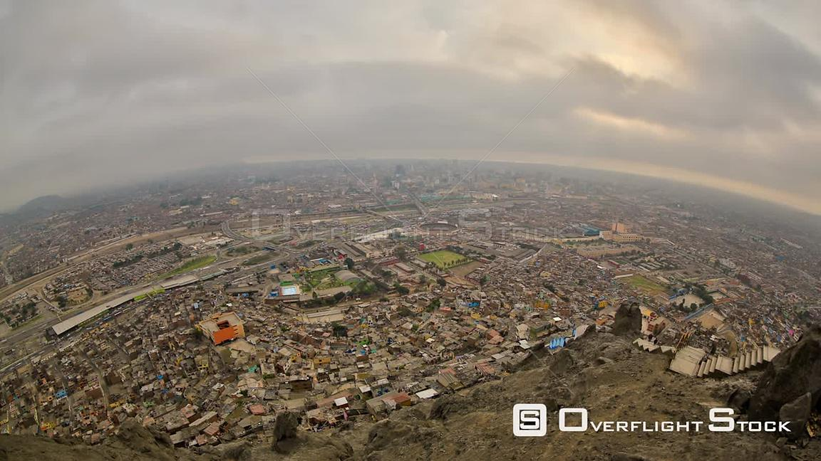 Lima cityscape time lapse using fisheye lens. Peru