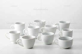 Set of various models of coffee cups.