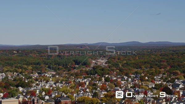Manchester New Hampshire Low looking birdseye to wide panoramic view of downtown cityscape