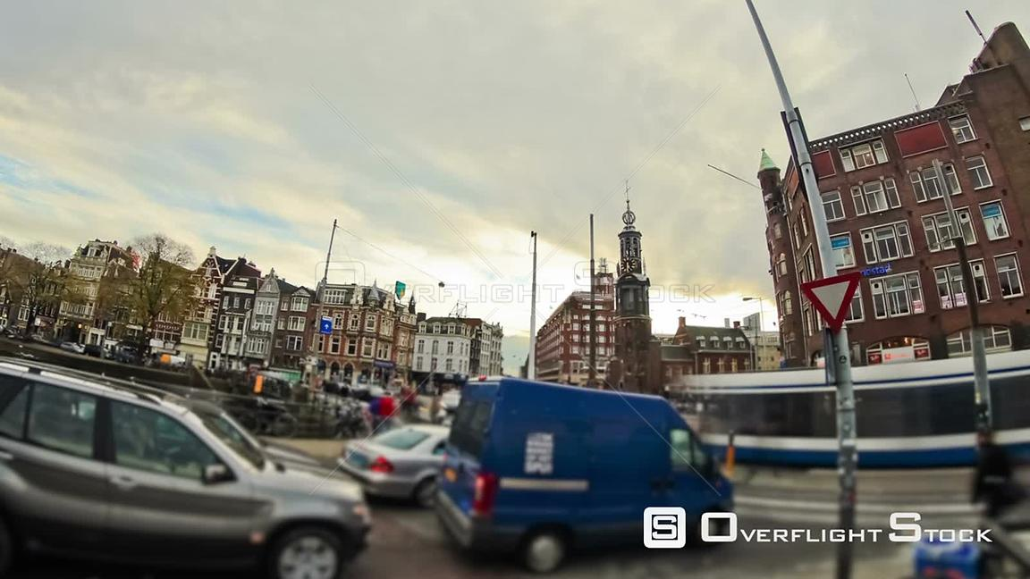City and crowds time lapse in downtown Amsterdam Netherlands