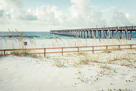 Pensacola Florida Gulf Pier and Casino Beach Fence Photo