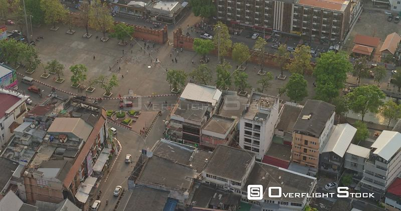 Chang Mai Thailand Aerial Panning birdseye, close up of courtyard culture & temple