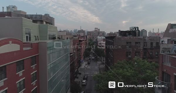 Low Drone Perspective of Lower East Side Street in Manhattan New York City