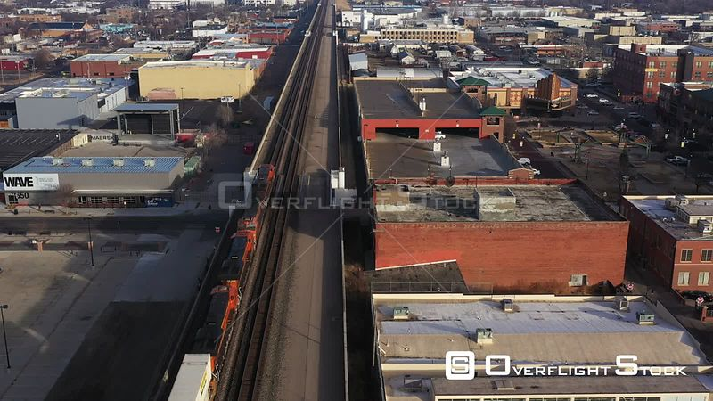 Train Locomotives and Tracks in Downtown, Wichita, Kansas, USA