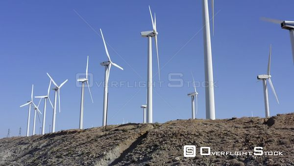 Wind Turbines In Palm Springs Desert California Drone Aerial View