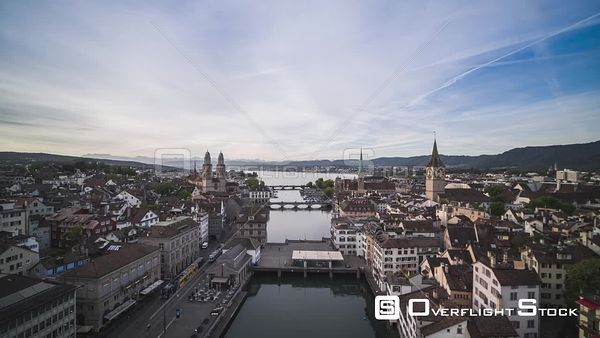 Cityscape Zurich Switzerland Drone Video