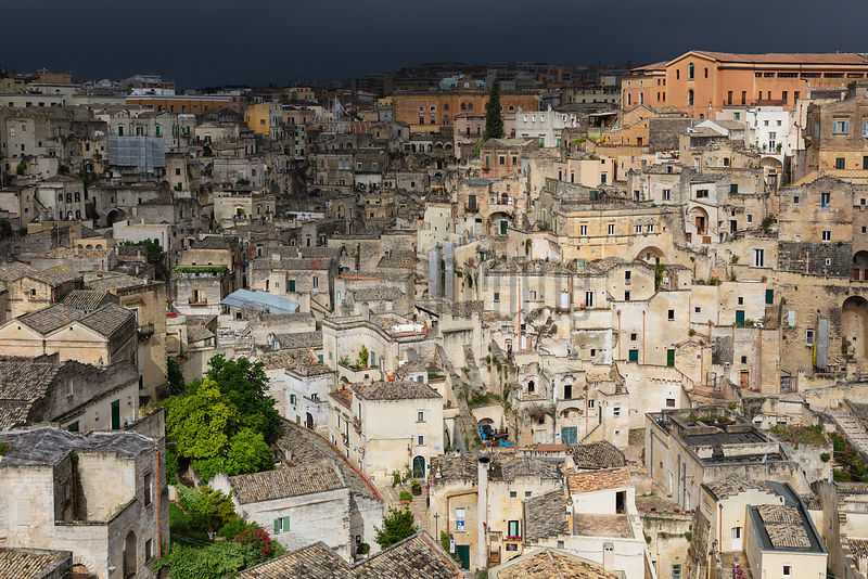View of the Matera Showing Part of the Town Spotlit by the Feeting Sun