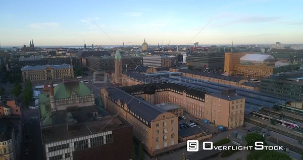 TraStation, Aerial Sideway View of Helsinki Railway Station, Sunny Summer Morning Dawn, Helsingfors, Uusimaa, Finland