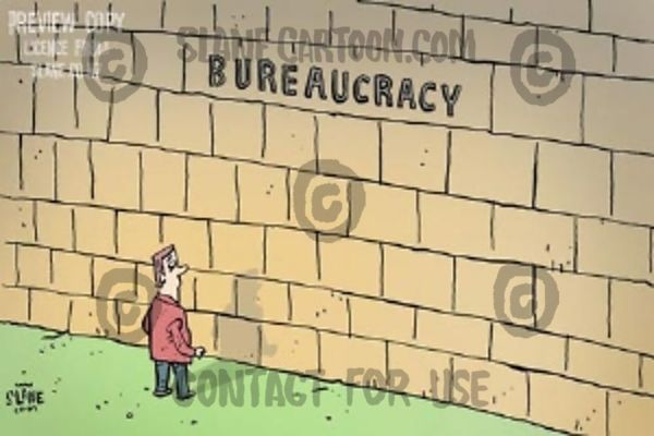 Man meets a solid wall labelled 'Bureaucracy'.