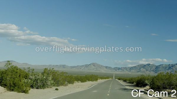 Long Straight Desert Highway Lanfair Road  California USA - Center Front View Driving Plate Cam2 Feb 25, 2020