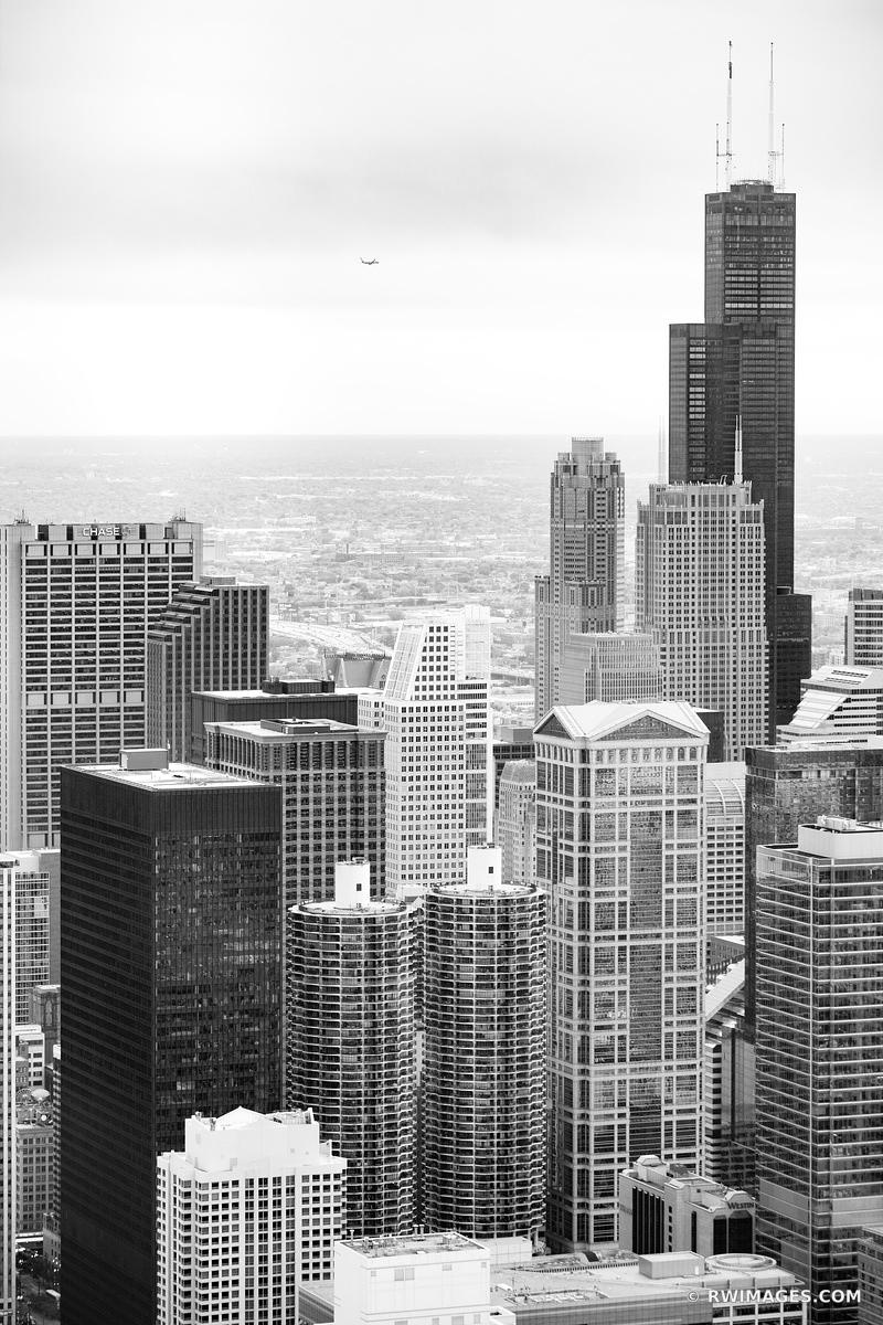 SEARS WILLIS TOWER CHICAGO DOWNTOWN AERIAL VIEW CHICAGO ILLINOIS BLACK AND WHITE
