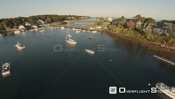 Aerial flyover shot of York Harbor, Maine.