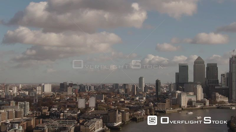 Aerial panning view of the financial district of the Docklands in London