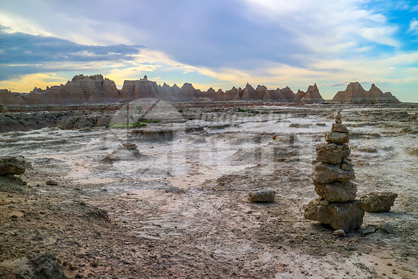 Stacking Stones in Badlands National Park, South Dakota