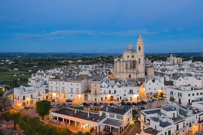 Elevated View of the Town of Locorotondo and the Chiesa Madre San Giorgio at Dawn