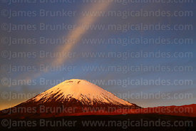 Parinacota volcano at sunset, Lauca National Park, Region XV, Chile