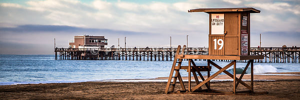 Newport Beach Pier and Lifeguard Tower 19 Panorama Photo