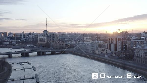 Sunset Cityscape Shot at New District of the City. Saint Petersburg Russia Drone Video View