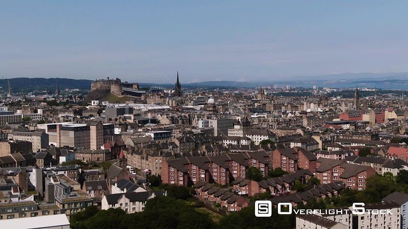 Aerial view of Edinburgh castle and the medieval old town Scotland