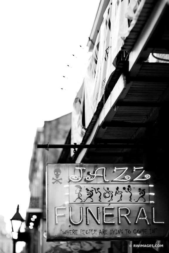 JAZZ FUNERAL FRENCH QUARTER NEW ORLEANS LOUISIANA BLACK AND WHITE VERTICAL