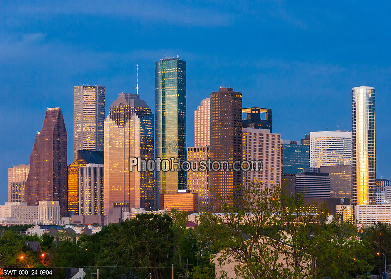The city skyline at sunset and Houston skyscrapers