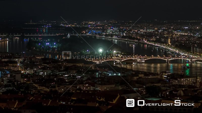Aerial Drone Video of Night in Budapest Hungary
