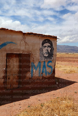 MAS (Movimiento al Socialismo) party initials and Che Guevara on wall of house, Tiwanaku, La Paz Department, Bolivia