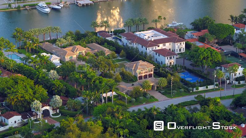 Homes of rich wealthy people Miami Beach aerial drone video 4k