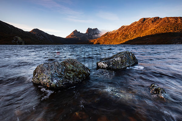 Cradle Mountain from the Shore of Dove Lake at Dawn