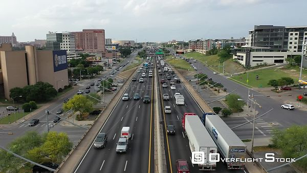 Heavy Traffic on the  Highway Drone Video Austin Texas USA