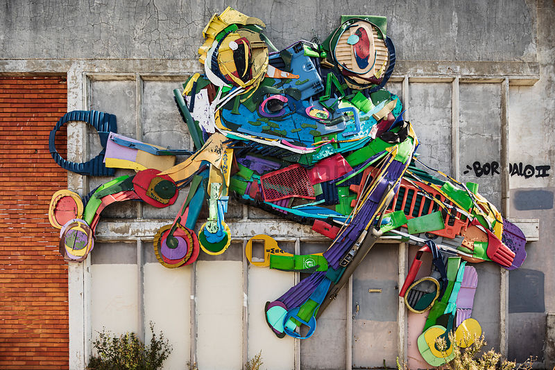 Street Art Sculpture of a Frog made with Trash by Bordalo II