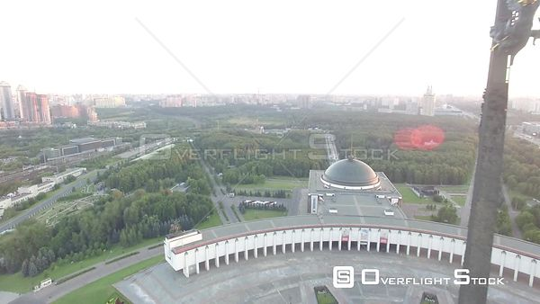 Sunset Flight Pass the Monument at Victory Park in Moscow. Moscow Russia Drone Video View