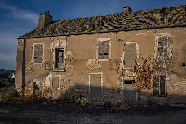 Abandoned old stone building in the Burgundy French countryside.