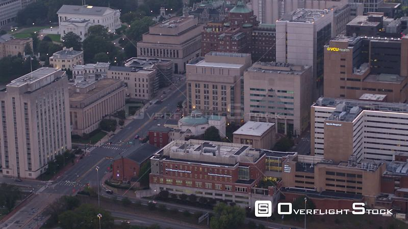 Richmond Virginia Aerial Birdseye cityscape looking high to low, from Capitol to expressway