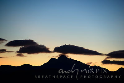 Mountain Cloud Cap Silhouette