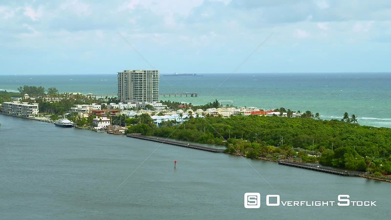 Aerial video Dania Beach Florida and fishing pier 4k