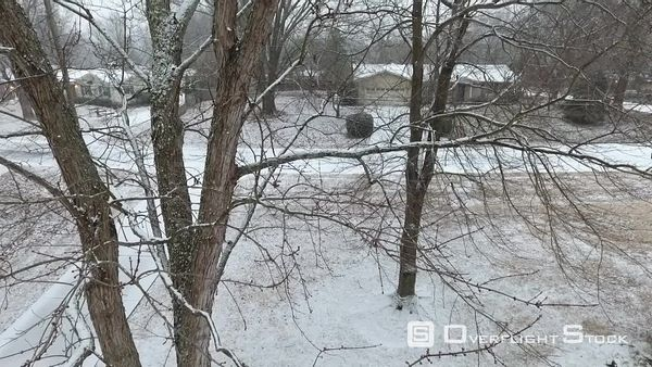 Snowing in Suburban Neighbourhood Louisville Kentucky