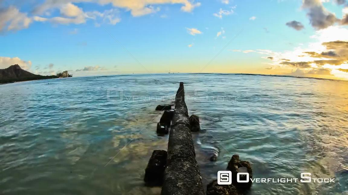 Beach time lapse clip during sunset. Hawaii