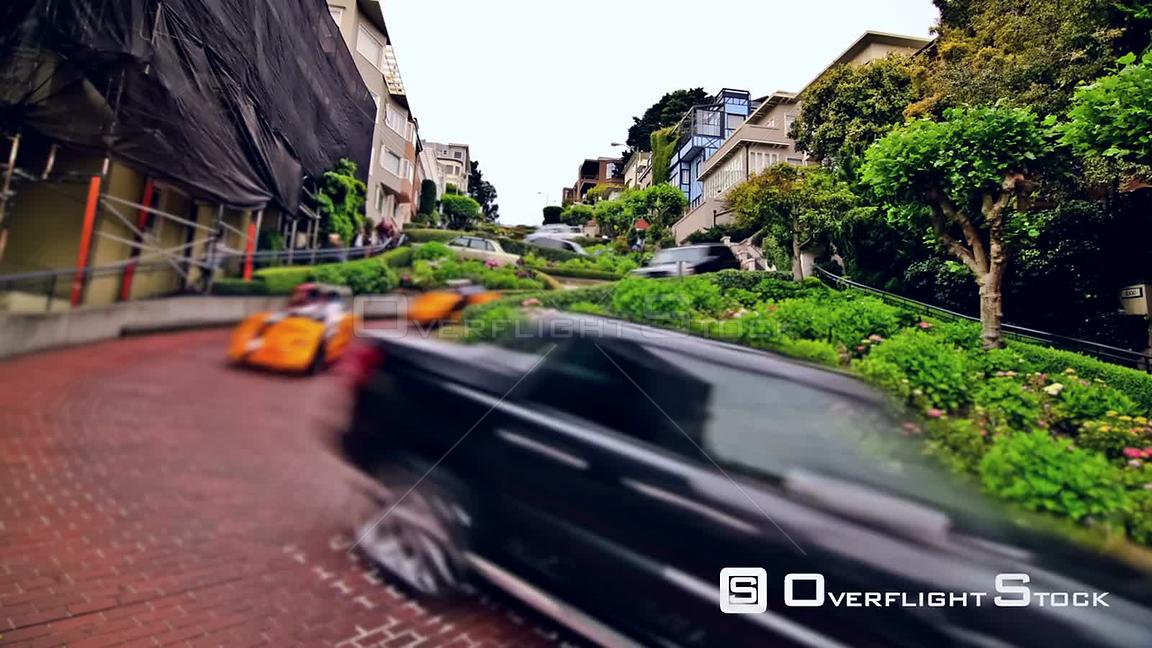 City traffic time lapse of Lombard street  San Francisco California