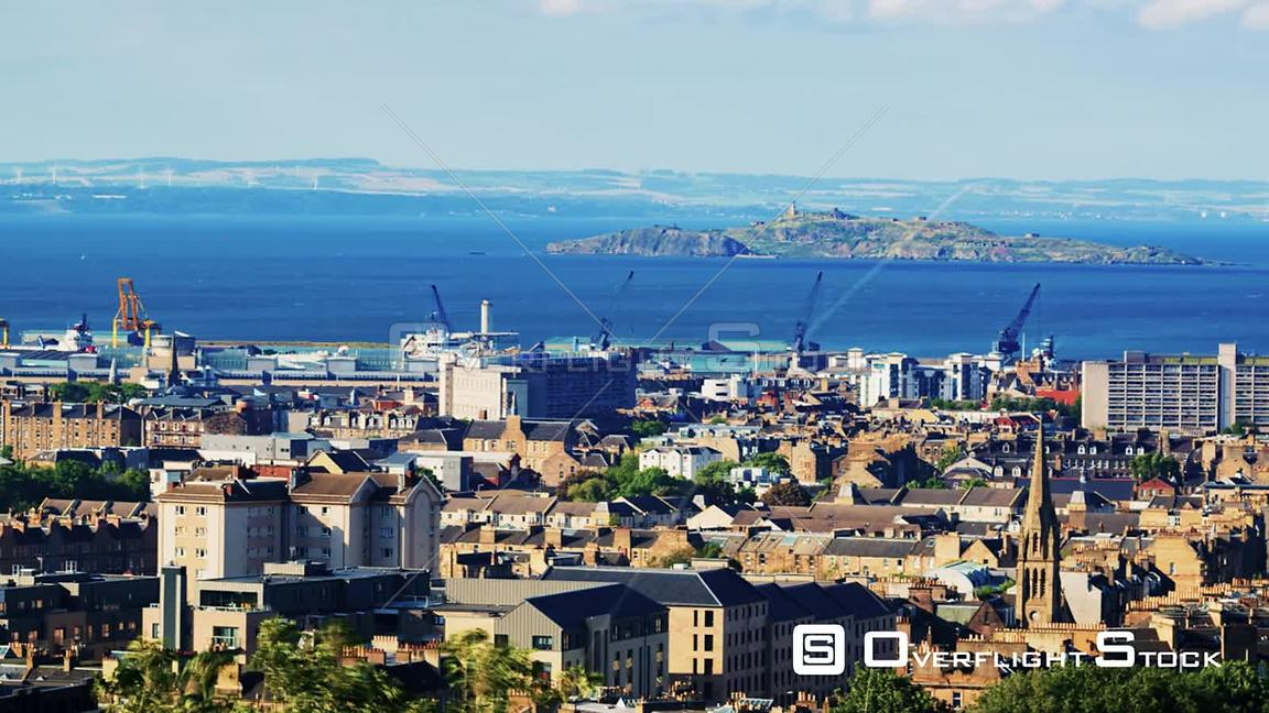 Timelapse Panning View of East Edinburgh, Leith and the Firth of Forth in Scotland