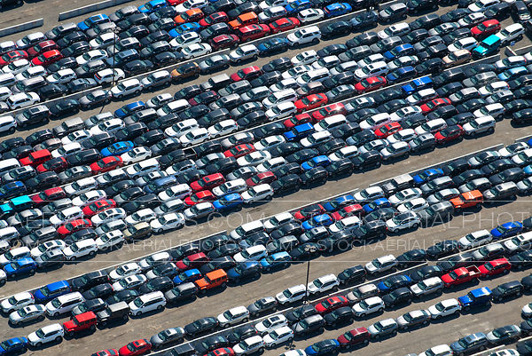 Rental cars parked due to COVID-19 pandemic