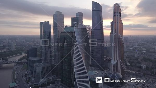 Circle Flight Over Moscow Business City Center MBCC During Sunset, With Slight Camera Movement. Moscow Russia Drone Video View