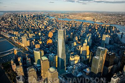 Aerial of the Freedom Tower in New York Cty